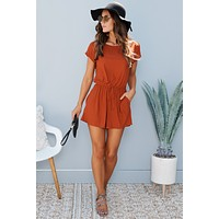 Hanging Out Romper (Rust)