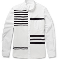Tomorrowland - Striped Knitted and Cotton-Poplin Shirt   MR PORTER