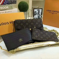 LV Louis Vuitton 2018 Trendy High-Quality Women's Exquisite Three-piece (With Box) F-LLBPFSH black print