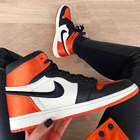 NIKE Air Jordan Fashion Men Women Casual Classic High Top Sport Shoes Sneakers Orange