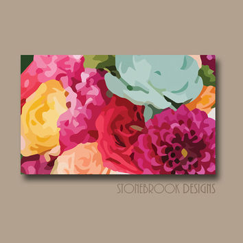 FLOWER Wall Art CANVAS Painting Vivid Colorful Artwork Large Image Wrap Floral Bouquet Decor Free Shipping