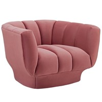 Entertain Vertical Channel Tufted Performance Velvet Armchair