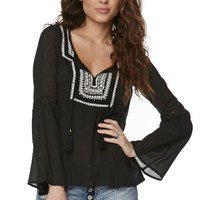 Billabong Sandy Dayz Peasant Top - Womens Shirts - Black