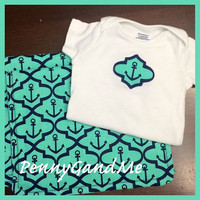 Nautical Gift Set ~ Baby Boy Gift Set ~ Anchor Baby Gift Set ~ Two Personalized Anchor Burp Cloths ~ Matching One-piece!