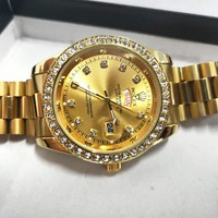 Rolex Fashion New Diamond Watch Stainless Steel Men Women Personality Business Casual Wristwatch Golden