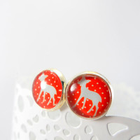 Woodland Deer and Polka Dots Stud Style Earrings in Silver setting White and Red, Glass Jewelry, 12mm Round