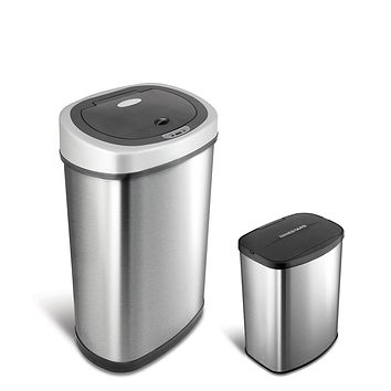NINESTARS CB-DZT-50-9/8-1 Automatic Touchless Infrared Motion Sensor Trash Can Combo Set, 13 Gal 50L & 2 Gal 8L, Stainless Steel Base (Oval & Rectangular, Silver/Black Lid) 13 Gal & 2 Gal SS